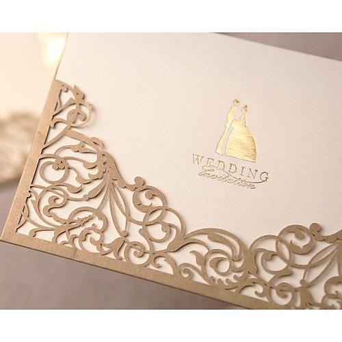 Свадебное приглашение в золотой великолепной кружева выреза (набор из 50) Lightinthebox 2148.000