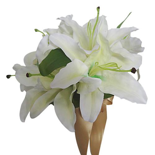 Белая лилия атлас свадебного букета Lightinthebox 858.000