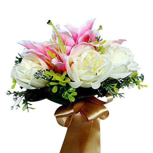 розовый атласный лилии и белые розы букет невесты Lightinthebox 858.000