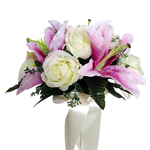 атласный фиолетовый лилий и белых роз букет невесты Lightinthebox 858.000