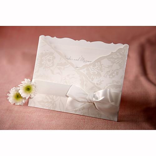 персонализированный стиль флоры три сложенные свадебные приглашения с белым бантом (набор из 50) Lightinthebox 4296.000