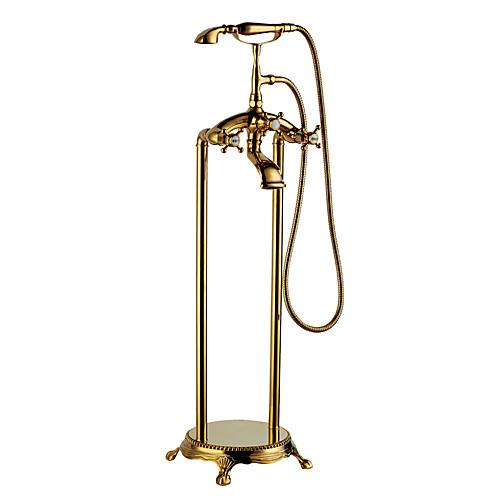 Античный напольный смеситель для ванной с ручной душевой лейкой