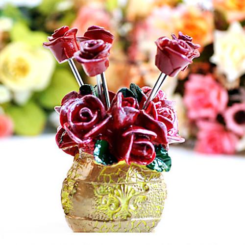 Роза стиле вилки фруктовых закусок берет с держателем