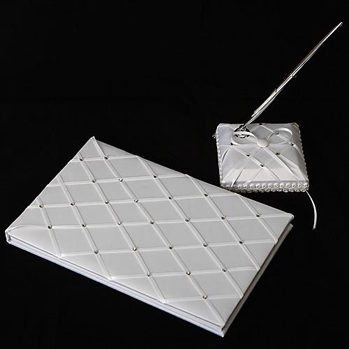 алмаз сетка белого атласа свадьбы гостевая книга и перо набор Lightinthebox