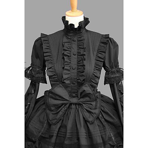 длинный рукав длиной до колен черного хлопка Готическая Лолита платье с кружевом