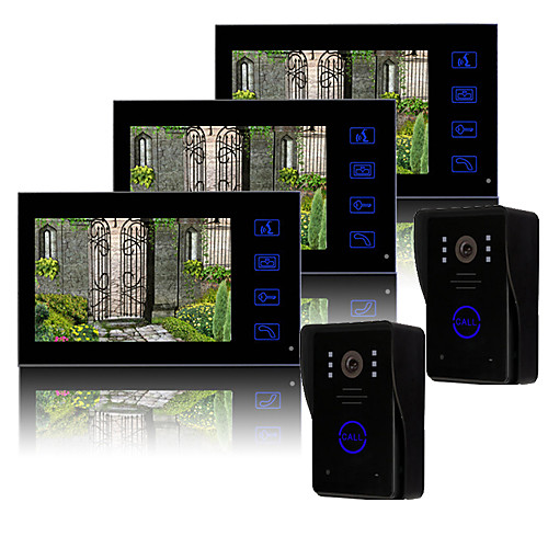 трех 7 дюймовый TFT LCD видеодомофон с ключевыми сенсорный  2 дождь доказательство наружных блоков Lightinthebox 13320.000