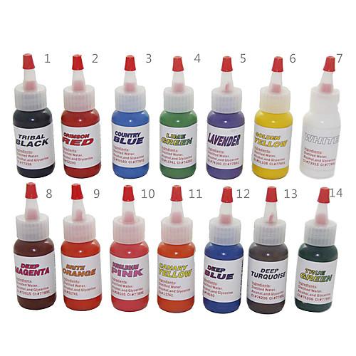 Высокое качество 14 цветных чернил татуировки 14  30 мл Lightinthebox 1288.000