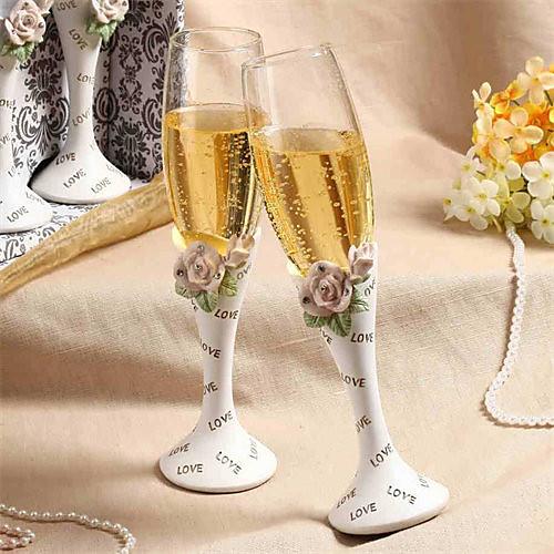 Фужеры для свадебного тоста с кристаллами и розами Lightinthebox 901.000