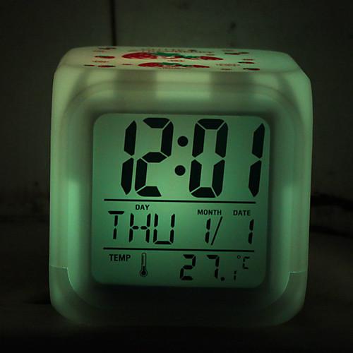 клубника рисунок красочный свет цифровой будильник, календарь термометр (белый, 4xAAA) Lightinthebox 283.000