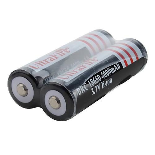 Перезаряжаемые литий-ионные батареи UltraFire BRC 18650 3,7 В 4000 мАч (2 шт., черные) Lightinthebox 255.000