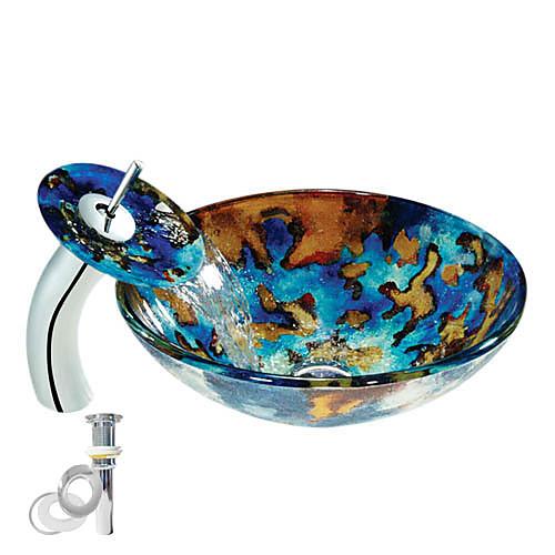 цветные закаленное стеклянный сосуд раковина с водопадом кран, поп - до умов и монтажное кольцо Lightinthebox 14180.000
