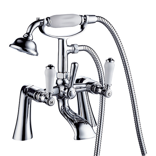 современные Centerset твердых двойной латунные ручки мост ванной смеситель с ручным душем (хромированная отделка)
