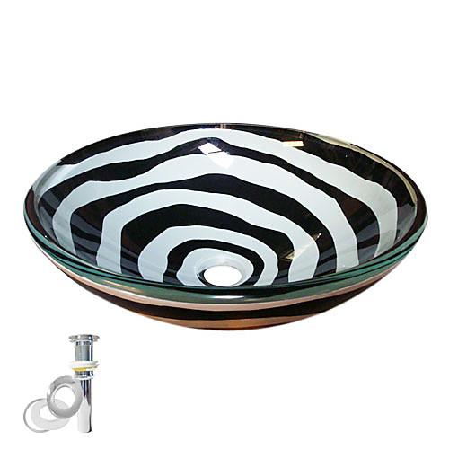 черно-белое закаленное стеклянный сосуд Раковина с поп-и монтажное кольцо Lightinthebox 9453.000