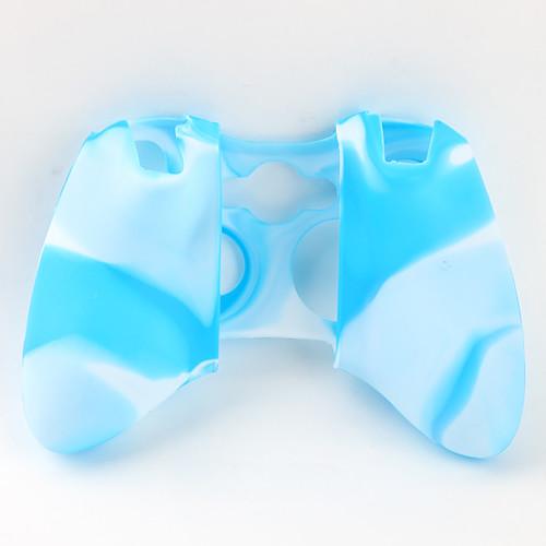 защитный двойной цвет силиконовый чехол для контроллера Xbox 360 (белый и синий)