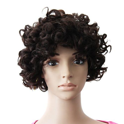шапки на 100% человеческих волос натуральный черный короткий прекрасный кудрявый парик