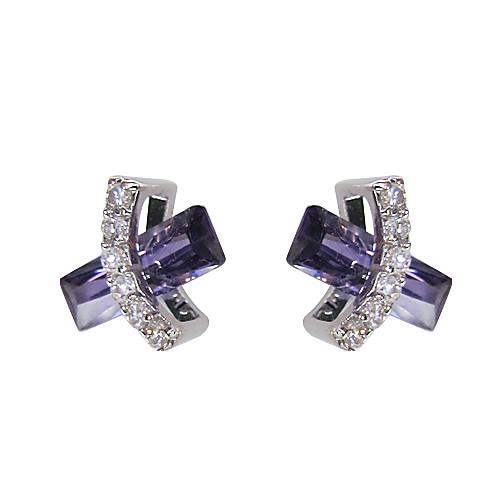 уникальный фиолетовый платины покрыты прямоугольник кубического циркония серьги Lightinthebox 227.000