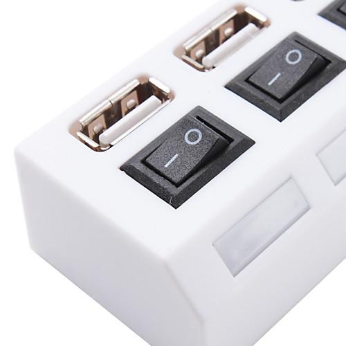 4-портовый USB 2.0 концентратор с синей подсветкой (белый) Lightinthebox 128.000