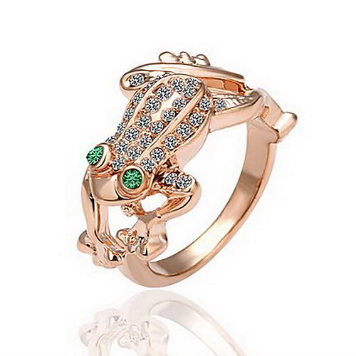 великолепный кубического циркония 18k позолоченными зеленых глаз лягушки моды кольца Lightinthebox 219.000
