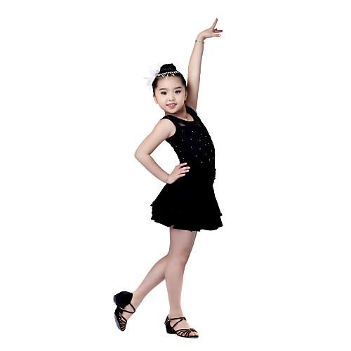танцевальная одежда вискоза со стразами платье исполнения танца латинские для детей Lightinthebox 1202.000
