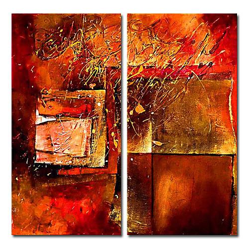 ручная роспись абстрактная картина маслом с растянутыми кадр - комплект из 2 Lightinthebox 4296.000