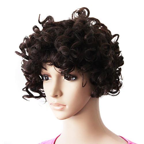 шапки на 100% человеческих волос натуральный черный короткий прекрасный кудрявый парик Lightinthebox 2577.000