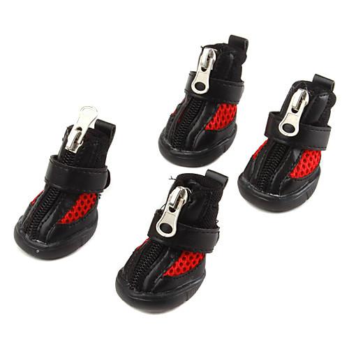 Защитный кожаный стиль сетки ZIP и нейлон-молния лента ботинки для собак (XS-XL, черный) Lightinthebox 489.000