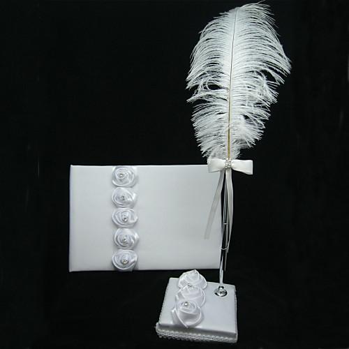 Белая атласная свадебная гостевая книга с ручкой-пером Lightinthebox 1108.000