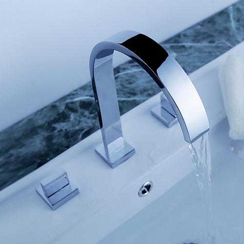 Ванная раковина кран распространенный современный дизайн хромированная отделка кран Lightinthebox