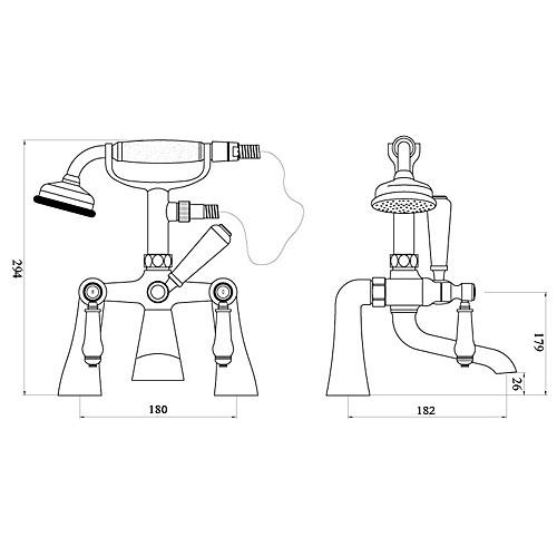 современные Centerset твердых двойной латунные ручки мост ванной смеситель с ручным душем (хромированная отделка) Lightinthebox 4726.000