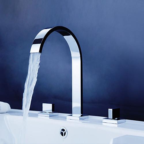 Ванная раковина кран распространенный современный дизайн хромированная отделка кран