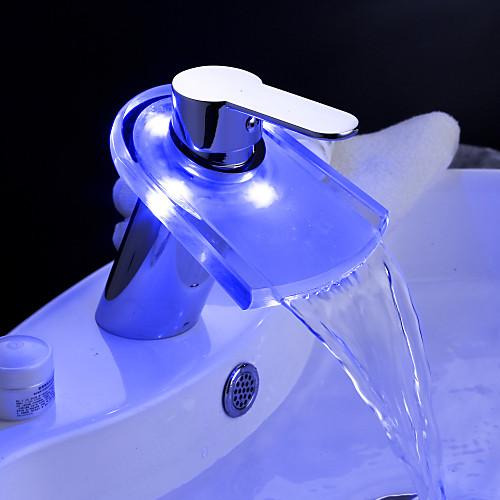 изменение цвета привело водопад ванной комнате раковина смеситель с всплывающее отходов Lightinthebox 3093.000