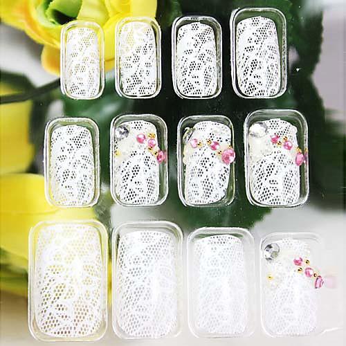 белый стиль кружева ложные советы ногтей Lightinthebox 149.000