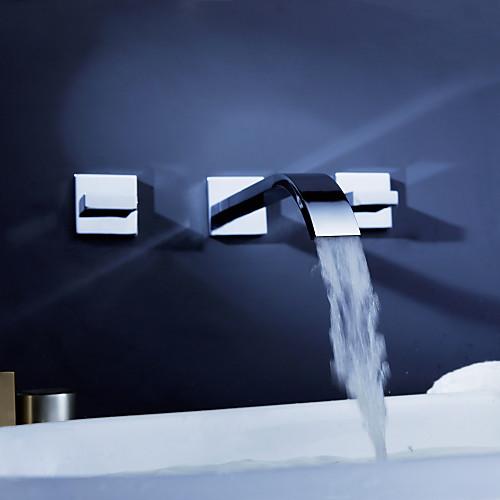 цельной латуни стене ванной комнате раковина смеситель (широко распространенный) с всплывающее отходов Lightinthebox 4296.000