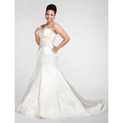 труба / Русалка Милая часовня Поезд атласная плюс размер платья свадьба Lightinthebox 7605.000