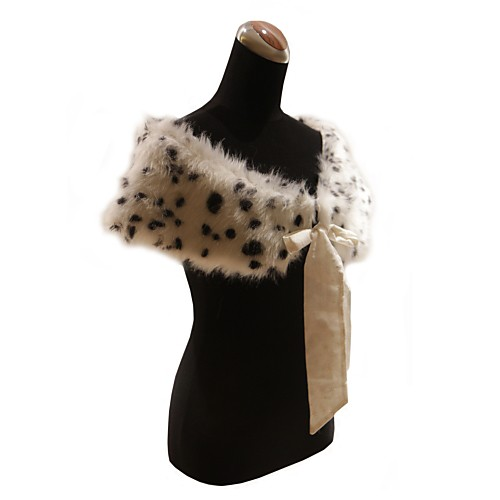 элегантный искусственного меха с лентами / животное печати партии / вечер платок / упаковка Lightinthebox 618.000