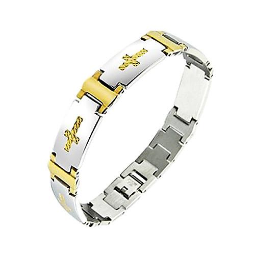 Мужской браслет из титановой стали с золотистым крестом Lightinthebox 343.000