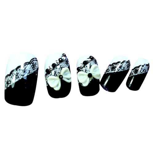 черный стиль кружева ложные советы ногтей Lightinthebox 149.000