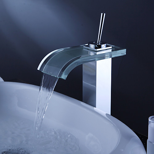 современный водопад ванной комнате раковина смеситель с изливом стекла и всплывающих отходов Lightinthebox 3437.000