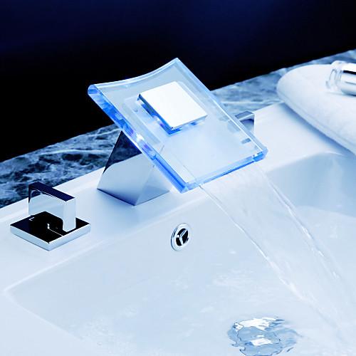 Современный смеситель-водопад с LED-подсветкой разных цветов, для ванной комнаты Lightinthebox 5800.000