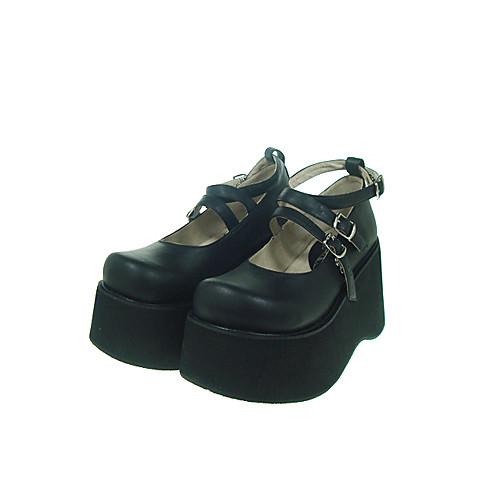черная искусственная кожа 10см клин Gothic Lolita обувь Lightinthebox 2148.000