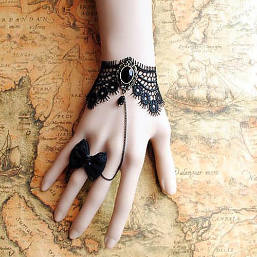 черного кружева ручной стиле ретро классический браслет Лолита с луком набор кольцо
