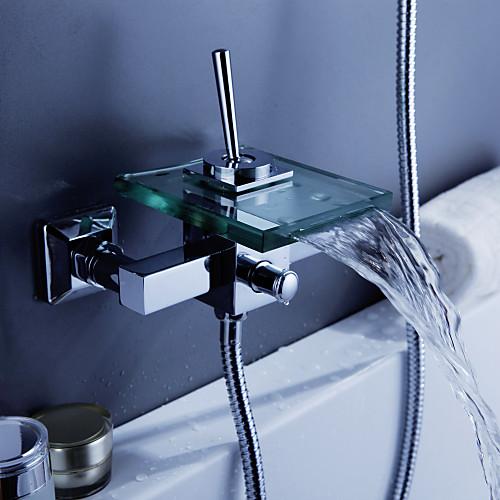 современной ванной кран водопада со стеклом носиком (настенное крепление)