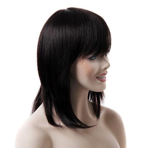 моно высокое качество длинные черные прямые парик человеческих волос