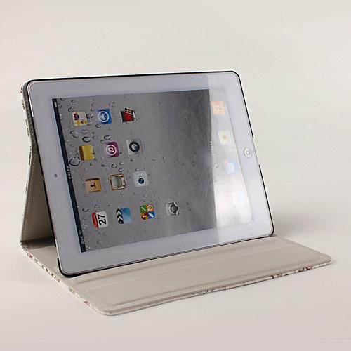 Чехол-подставка для iPad 2/3/4 с цветочным принтом из кожзама (белый) Lightinthebox 730.000