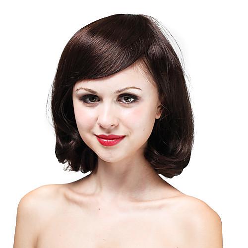 моно высокое качество человеческого волоса коричневый вьющиеся волосы парика Lightinthebox