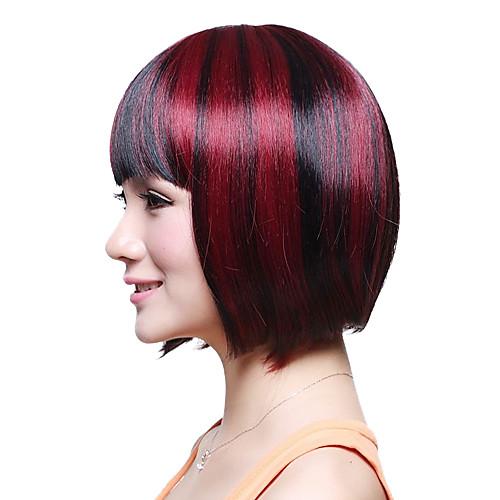 Монолитным Короткие высшего сорта синтетического японского Kanekalon прямой парик Боб Полный взрыва смешанных цветов Lightinthebox 1288.000