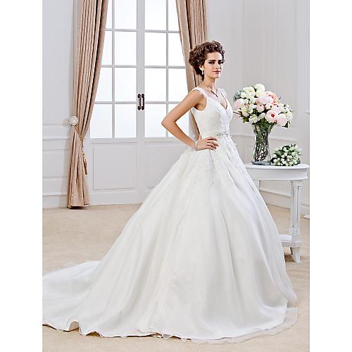 бальное платье V-образным вырезом Часовня поезд органзы свадебное платье Lightinthebox 10677.000