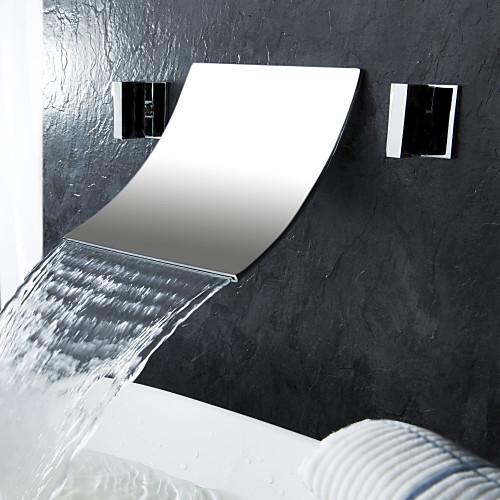 водопада широко современной кран раковины ванной комнаты (хромированная отделка) Lightinthebox 6015.000