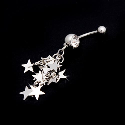 Очаровательная нержавеющая сталь Кристалл живота кольцо со звездами Lightinthebox 129.000