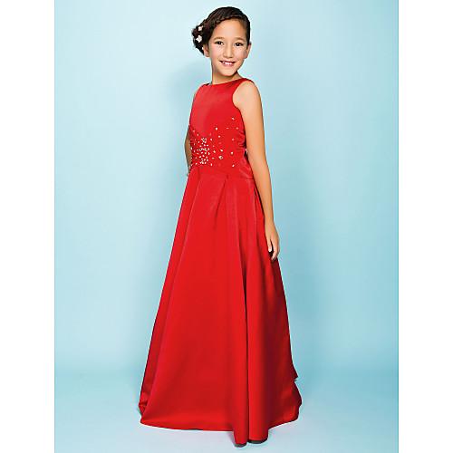 Длинное сатиновое бальное платье для девочек Lightinthebox 2629.000
